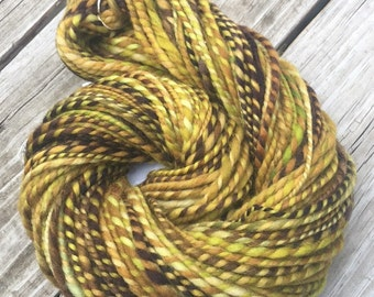 Sea Foam Handspun yarn Wool Blends Yarn Bulky Weight gold brown mint green rust bulky weight Two Ply 2 Ply 104 yards