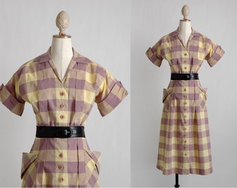 vvvRESERVEDvvv 1940s vintage check dress with tucks + flared pockets * purple + yellow cotton * 5S943