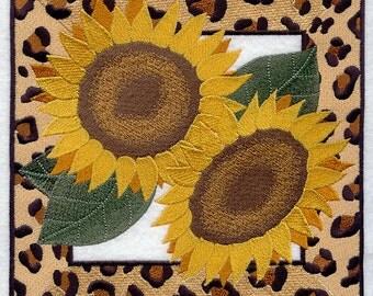 SASSY SUNFLOWER SQUARE - Machine Embroidered Quilt Blocks (AzEB)