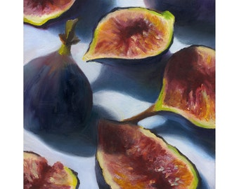 original oil painting 8x8 - Figs / small still life painting by Jo Bradney / free shipping /