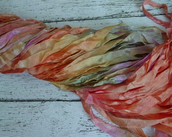 NeW DyE BaTch - Hand Dyed ribbon - gorgeous SUNNY SMILES half inch ribbon, 5 yards