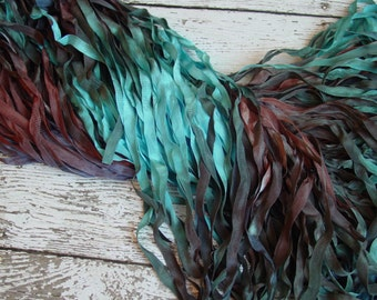 Hand Dyed Ribbon - NeW - CANYON CRICK quarter inch wide ribbon, 5 yards