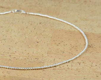 Sterling silver tiny round beads necklace