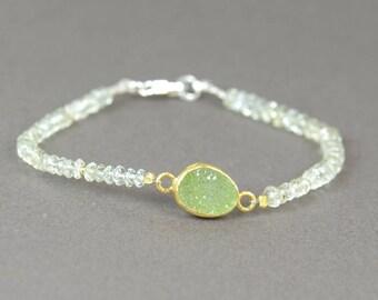 Druzy bracelet with  aquamarine  and vermeil beads