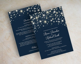 navy blue and silver glitter polka dot wedding invitations, Wedding invitations
