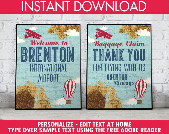 "Retro Airplane 8""x10"" Signs - Hot Air Balloon Sign, Aviator Party Signs - Map Party Signs, 1st Birthday - DIY Instant Download PDF Printable"