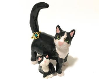 Cat Ring Holder, Mother Cat and Kitten Sculptures, Hand-Built Tuxedo Cat Ring Holder