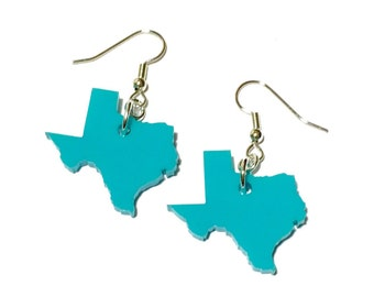 Texas Earrings in Turquoise Blue Lasercut Acrylic, State Jewelry, Moving Gift, Gift for Friend, Dangle Earrings