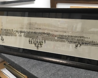 Antique World War I military yard long photo image 12 x 47 framed uv glass Shipping is Not free