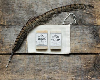 2 Soap Sample Gift Bag, muslin gift bag, handmade soap, cold process soap, all natural soap, lightly scented, herbal soap, vegan soaps