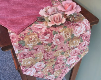 "Pink Rose Table Runner 54""-72"" Reversible Table Runner Mauve Cabbage Rose Table Runner Spring Shabby Chic Table Runner Pink Rose Table Decor"