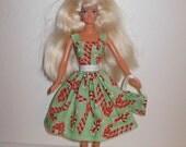 Handmade barbie clothes, CUTE Christmas dress and bag 4 barbie doll