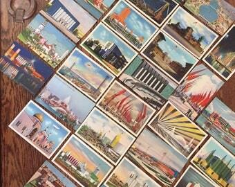 Thirty Three 1934 Century of Progress Souvenir Postcards & Souvenir Ashtray