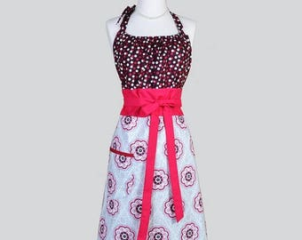 SALE Cute Kitsch Womens Apron . Berry and Grey Polka Dot and Medallions Retro Vintage Style Kitchen Cooking Apron with Pockets