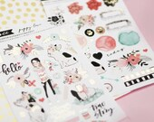 Planner Stickers 4pck Puppy Love with gold foil accents