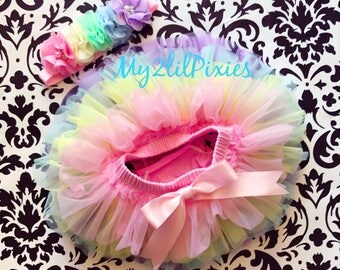 Rainbow Tutu bloomer and headband, baby set , Baby Girl Bloomers, All Around Ruffle Baby Bloomer , diaper cover ,infant, Toddler