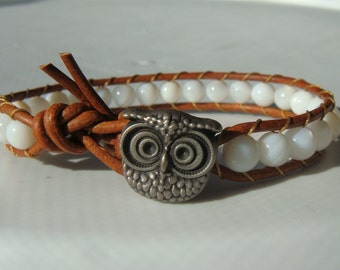 Owl Bracelet Shell Beaded Leather Bracelet