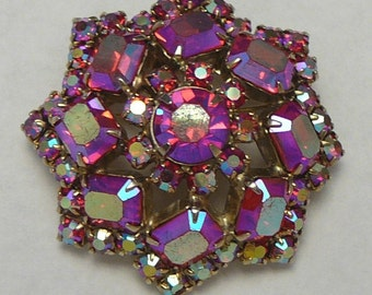 Juliana Style Pink Red AB Rhinestone Brooch Vintage Pin Iridescent