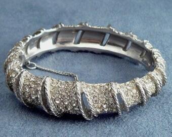 Vintage Rhinestone Clamper Bracelet Pave Diamante Stones