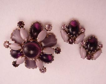 Vintage Purple Glass Tiered Set Lavender & Grape Cabochon Brooch Earrings
