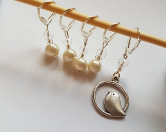 Bird & Pearl stitch markers - Progress keeper - Set of 5- Crochet - Knitting - Notions