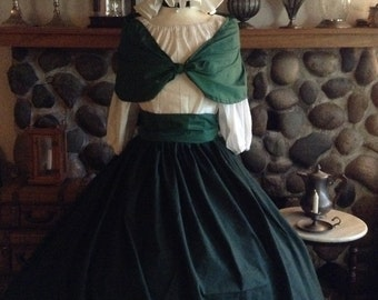 Ready to Ship Civil War Pioneer Colonial Victorian Reenactment Green and Black Plaid Skirt Blouse and Sash