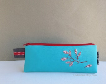 Pencil case in turquoise faux leather with silver and red embroidery