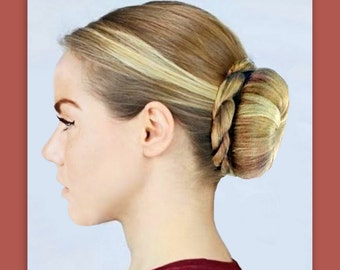Twist braided plait ballet bun wrap accent braid addition hairstyle dance acedemy updo bridal accessory hairpiece hair extension wedding