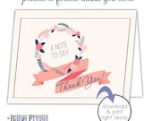 Printable Thank You Card • Bridal Shower Notecard • INSTANT DOWNLOAD • Simple Bridesmaids Gift