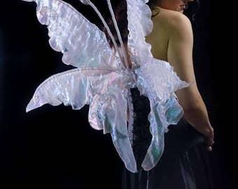 Adult white iridecent triple fantasy fairy wings.