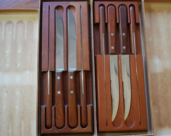 Vintage Camillus Stainless Steel Steak Knives - Rosewood Handles - set of Eight - in Blocks - Man Gift - Meat Lover - For Dad