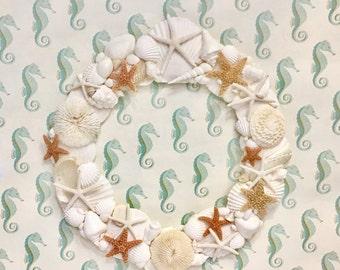 Beach Decor - Shell Wreath with Starfish - coastal decor coastal style seashells sea shells star fish