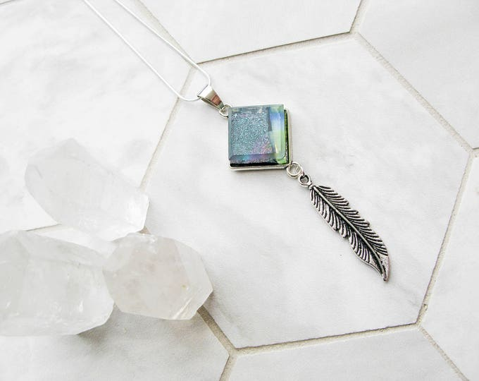 silver feather charm necklace, green aura glass necklace, bohemian jewelry, dichroic glass, unique gift for her, gifts for girlfriend