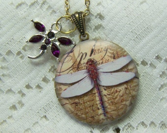 Dragonfly Locket - Purple Iridescent Dragonfly - Crystal Dragonfly Charm - Self-realization Change Pendant - February Birthstone
