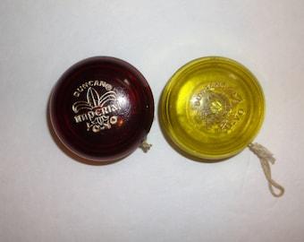 Vintage Duncan Yo-Yo Pair..Ruby Red and Citerine Yellow Imperial Duncan Yo-Yos..1970's Toys