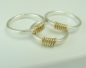 Sterling Silver and 14K Gold Filled Stacking Ring / Stackable Ring