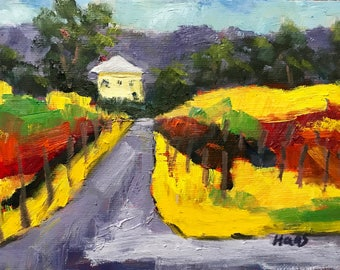 AMADOR FALL - California -5 x 7 - Oil Painting - Landscape - Wall Hanging - Cottage Chic - Yellow - Amador County - Gift Idea - Vineyard