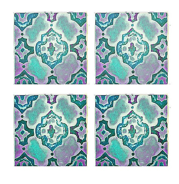 Moroccan Art Prints, Wall art, teal moroccan art blocks, 2 sizes to choose from