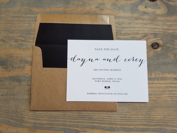 simple save the date, kraft save the date for a rustic, country wedding, country save the date, kraft, black and white simple save the date