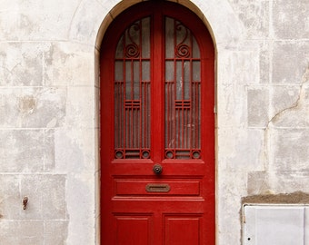 Door Photography, Red Door Photograph, Paris Decor, Paris Print, Travel Photography, Rustic Home Decor - Little Red Door