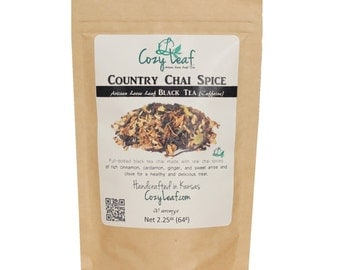 Country Chai Spice Artisan Organic Loose Leaf Rooibos Herbal Tea by Cozy Leaf