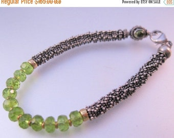 XMAS SALE Designer 18k YG & Sterling Caviar with Faceted Peridot Beaded Vintage Fine Jewelry Jewellery