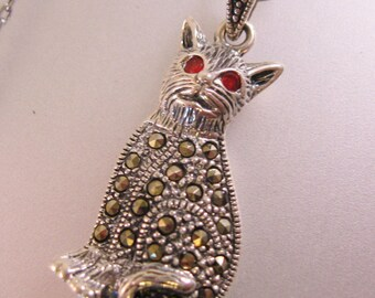"Cat Marcasite Sterling Silver Pendant Necklace 16.75"" Vintage Jewelry Jewellery"