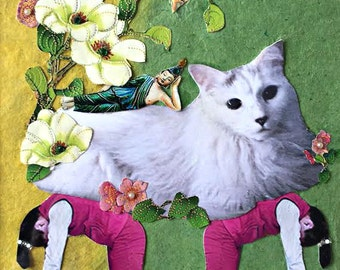 CUSTOM white cat pet portrait yoga buddha wall decor flowers yellow green tagt team