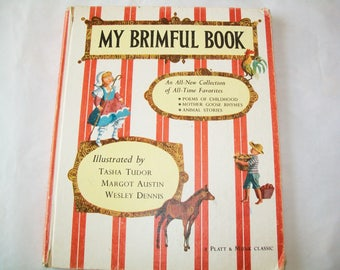 1960s My Brimful Book, Tasha Tudor, hardbound, poems, stories, illustrated