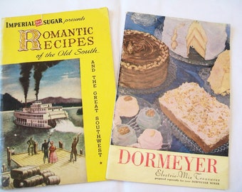 2 Vintage Cookbooks, Romantic Recipes of the Old South, Dormeyer, 1950, 1949