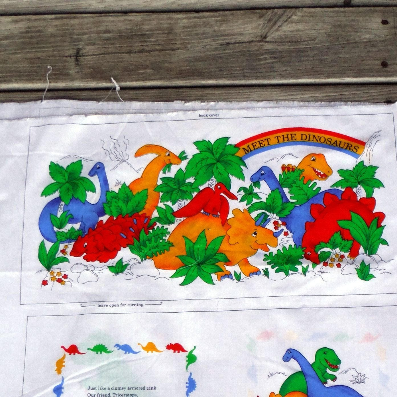 Dinosaur fabric book panel diy quilting material t rex for Dinosaur fabric