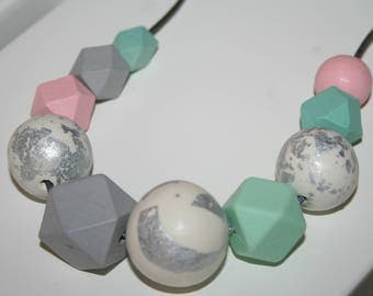 Handmade Polymer Clay, Silicone and Wood Bead Necklace - Pink/Mint/Grey tones - FREE POSTAGE