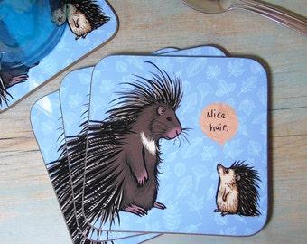 Single (x1) Nice Hair Illustration Coaster