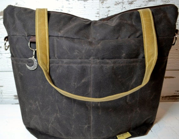 diaper bag waxed canvas waterproof tote cross body by. Black Bedroom Furniture Sets. Home Design Ideas